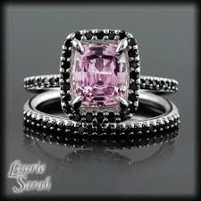 black wedding rings with pink diamonds pink and black wedding ring set wedding rings wedding ideas and
