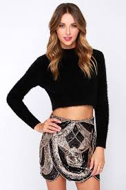 sequin skirt chic black and gold skirt sequin skirt scalloped skirt