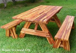 Wood Picnic Table Plans Free by Redwoood 6 Ft Picnic Table