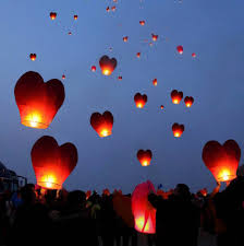 20 red heart paper chinese lanterns sky fly candles lamps wishing