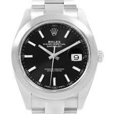black bracelet mens watches images Rolex datejust 41 black dial oyster bracelet steel mens watch 126300 jpg