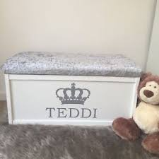 Toy Bench Cushion Personalised Toy Box Chest Cushion Bench Storage Ottoman Toy Tidy