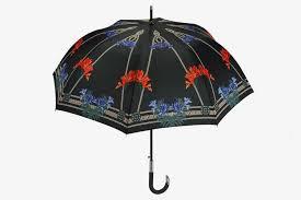 iris print on black background umbrella shop perletti