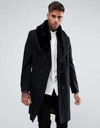 imagenes negro rico hombre chaquetón de lana negro con cuello de pelo sintético cyclone