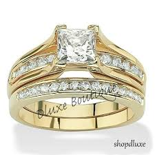ebay wedding ring sets s 14k gold plated princess cut aaa cz wedding ring set size