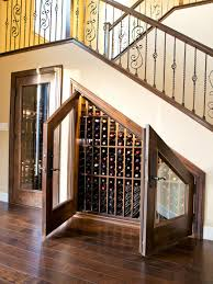 awesome design ideas of under staircase wine rack with black metal