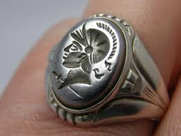 vintage antique uncas art deco intaglio sterling silver men u0027s ring