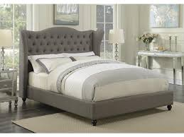 tufted headboard nailhead trim newburgh collection light grey fabric wingback eastern king size