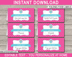 pink owl party food labels place cards owl theme birthday party