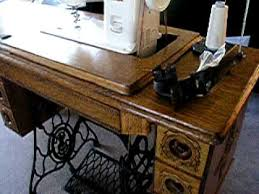 Antique Singer Sewing Machine And Cabinet Janome 712t In A Treadle Cabinet Youtube