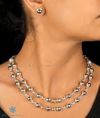 silver pearl necklace set images The zukti silver black pearl necklace set buy pearl necklace jpg