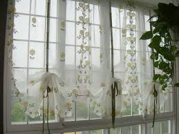 embroidered yellow sunflowers balloon shade sheer voile cafe