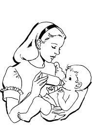 une maman qui donne du biberon à son bébé coloriage pour enfants
