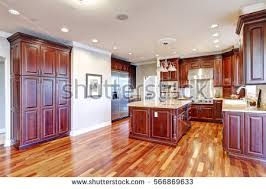 warm inviting kitchen large kitchen island stock photo 566869651