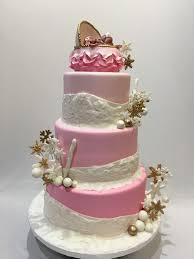 mymonicakes pink and white winter wonderland baby shower cake