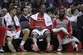 basketball player on bench houston rockets 5 players on nba all star ballot