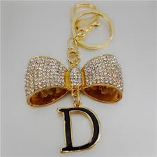 adojewello jewelry rhinestone crystal exquisite bow letter d