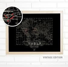 World Map With Pins by Imaginenations Black Vintage World Map With Pins Push Pin Travel Map