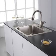 Kraus Kitchen Sinks Kraus Ktm25 Stainless Steel 25 Drop In Single Bowl 18