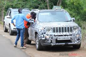 jeep renegade light blue renegade spotted testing in india with skoda yeti in tow