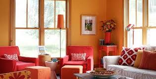 red and orange living room house decor picture