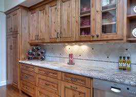 rustic knotty alder kitchen with stain and glaze finish by shaw