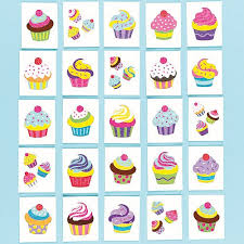 cupcake glitter theme temporary tattoos for children party bag