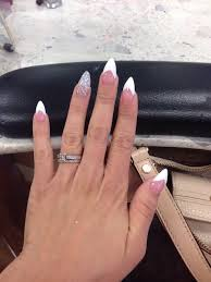 v french tip stiletto nails done by sue yelp