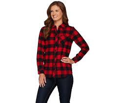 Flannel Shirts Denim Co Yarn Dyed Button Front Flannel Shirt Page 1 Qvc