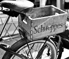 black and white bicycle schweppes box vintage photography zoom