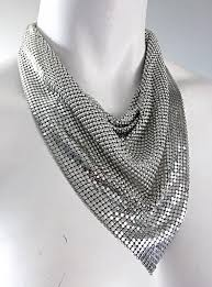 bib necklace black images Vintage whiting and davis 1970s silver chainmail 70s metal disco JPG