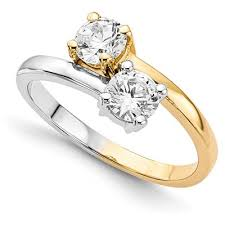 two diamond ring half carat only us 2 diamond ring in 14k two tone gold