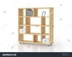 white solid wood bookcase wooden bookcase shelves on wheels isolated stock illustration