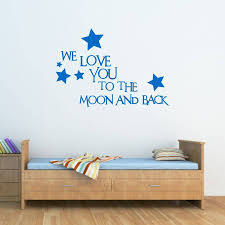 love you to the moon and back wall sticker by mirrorin love you to the moon and back wall sticker azure blue