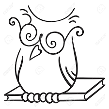 clipart owl black and white illustration of owl seating on the book royalty free cliparts