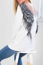 sleeve low back wing print t shirt plus beautimus