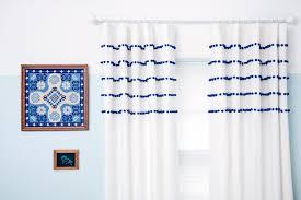 Curtains With Pom Poms Decor Pom Pom Curtain Pom Poms An Eclectic Eccentric Locust Black White