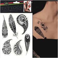 summer style 1pcs black tree leaf henna flash
