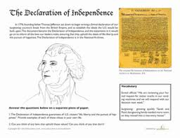Declaration Of Independence Worksheet Answers Jefferson And The Declaration Of Independence Worksheet