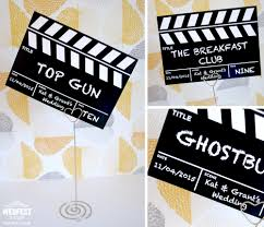 clapper board wedding table cards wedding ideas cinema theme