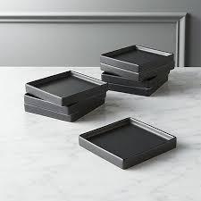 horderve plates set of 8 bento matte black appetizer plates in dinnerware