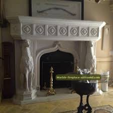 marble fireplace mantel shelf with dog statues