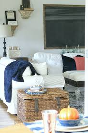 cozy fall farmhouse decor in navy and orange noting grace