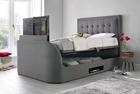 Kingsize Tv Bed Frame Happy Beds Metro Ottoman Tv Bed Grey Fabric Frame Storage Modern
