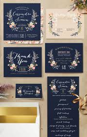 navy blue wedding invitations wildflower crest customizable wedding invitations in blue by
