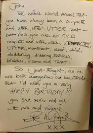 this is the birthday card rik mayall fan s family requested a signed birthday card and this