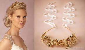 flower accessories gold plated plant leaves and flower bridal hair accessories with