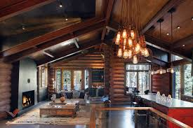 interior casual log cabin homes interior living room design using