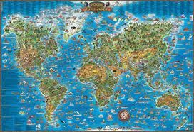 Maps For Kids World Map Poster Framed Or As Bulletin Board