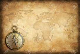 Old Map Background Old Brass Or Golden Compass With World Map Background Stock Photo
